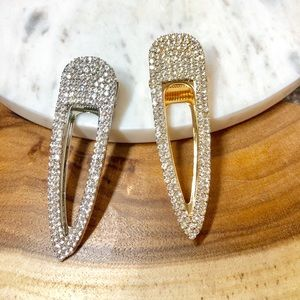 Gold Silver Crystal Barrettes Hair Clips 2 Piece
